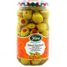 Оливки фаршированные красным перцем 350 гр калибровка Супер (231-260 шт/кг) YORE стеклянная банка