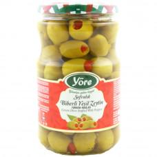 Оливки фаршированные красным перцем 700 гр калибровка Чемпион (161-180 шт/кг) YORE стеклянная банка