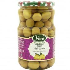 Оливки надрезанные 700 гр калибровка Супер (231-260 шт/кг) YORE стеклянная банка