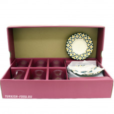 Набор для чаепития: армуд-стакан и блюдца (квадрат) для 6 персон