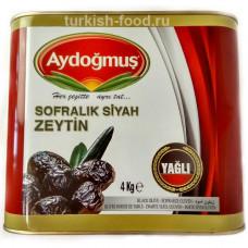 Вяленые маслины калибровка L/M 4 кг, корзинные, масляные, в жестяной банке, AYDOGMUS
