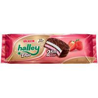 HALLEY DUO Сэндвич-печенье (Бакус) покрытое молочным шоколадом с кулбничной маршмэллоу 30 гр ULKER