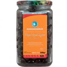 """Вяленые маслины калибровка 3XS 500 гр, (ферментированные в рассоле - """"саламура""""), масляные, в стеклянной банке, MARMARABIRLIK"""