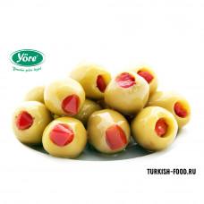 Оливки фаршированные красным перцем YORE калибровка 141-160, расфасовка 400гр