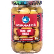 Оливки фаршированные красным перцем 400 гр калибровка 4XL MARMARABIRLIK в стекле