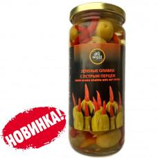 Оливки фаршированные острыми красными перцами 480 гр DELI VEGGY