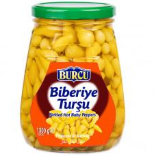 """Маринованные острые перцы """"Джин бибер"""" BURCU 1300 гр в экстра толсто-стенном стекле"""