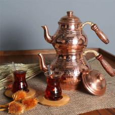 Чайник медный 3 л, с медной печка-подставкой (две крышки)